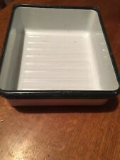 Vintage Enamelware Refrigerator Vegetable Drawer Crisper Bin Pan White Black Ex
