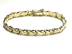 """14k yellow gold X'S diamond cut tennis bracelet 10g estate 7 1/2"""""""