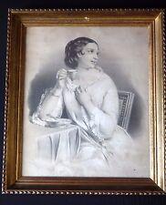 Superbe grande eau forte gravure élégante cadre Old engraving lovely woman frame