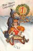 New Year~Girl in Cape Holds Shining Mistletoe Wreath on Pole~Prince Sleds~Emboss
