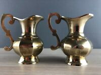 Pair of Vintage Solid Polished Brass Pitcher Jug Vases with ornate handle decor
