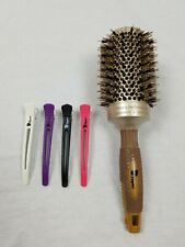 Fagaci Ionic Round Brush Blow Drying Natural Boar Bristle with 4 Hair Clips
