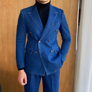 Formal Denim Suits For Men Double-breasted Six Button Peak Lapel Party Tuxedos