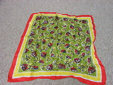 Vintage Green Yellow Red Cottage + Tree Print Gossamer Silk Hankie Scarf