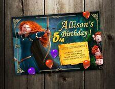 BRAVE MERIDA DISNEY BIRTHDAY PARTY INVITATION photo CARD CUSTOM INVITES - 1st