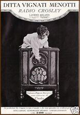 PUBBLICITA' 1930 OLD RADIO CROSLEY  ELEGANZA STILE VIGNATI MENOTTI LAVENO MILANO