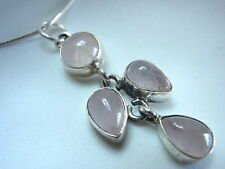 New 4-Gem Rose Quartz 925 Sterling Silver Pendant