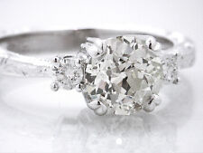$15450 3 Stone 1.47ct SI1 K 18K White Gold EGL Round Diamond Eng Ring with VIDEO