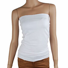 Women Basic Stretch Plain Strapless Tube Top Padded Bra (TO_016)_White