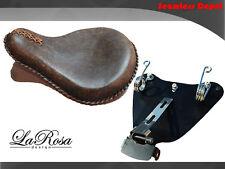 "La Rosa 15"" Rustic Brown Leather HD Springer Seat + 2010 UP Sportster Mount Kit"