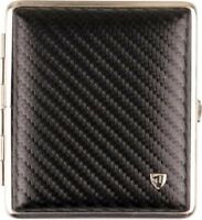 STOLL Zigarettenetui Echt Leder schwarz carbon optik 18er Made in Germany NEU