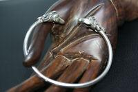 "Designer Style Vintage Sterling Silver two Horse Head 7"" Cuff Bracelet Kabana"