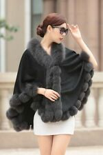 Opulent/Lady Real Cashmere Real Fox Fur Cloak poncho/Coat/Wraps/Cape/gray