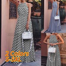 Vestido de verano Mujer sin mangas rayas largo Maxi Vestido De Verano Playa Casual Suelta largo