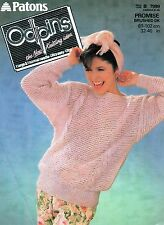 """~ Patons Odpins Knitting Pattern For Lady's Cable Panel Sweater ~ 32"""" ~ 40"""" Bust"""
