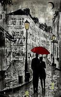 ROMANTIC ART PRINT - Rainy Promenade by Loui Jover Couple Umbrella Poster 11x14