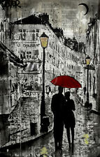 ROMANTIC ART PRINT - Rainy Promenade by Loui Jover Couple Umbrella Poster 11x14