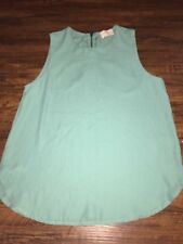 Everly Medium Mint Green/Teal Top Sleeveless Blouse Partial Zip Back