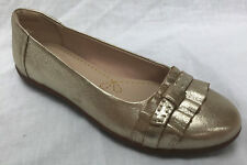 BNIB Clarks Ladies Feya Island Champagne Leather Flat Shoes