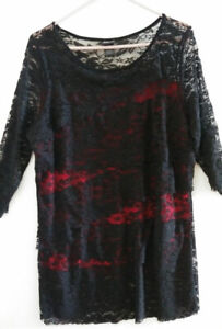 """Frederick's of Hollywood Black Lace Dress, Red Underlay, Very Short 30"""" Size 2X"""