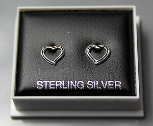 STERLING SILVER 925, STUD EARRINGS, OPEN HEART, BUTTERFLY BACKS,  STUD 64
