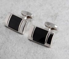 AT Cross Co. Designer Black Enamel & Rhodium Plate Cuff Links  AC179RR-4 NIB