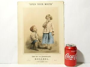 """"""" Open Your Mouth """"  Rosabel Set Quadrilles Colour Pictorial Sheet Music 19thC"""