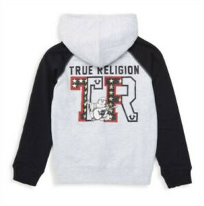 True Religion Little Boys Logo Star Graphic Raglan Full Zip Hoodie Size 5 $79