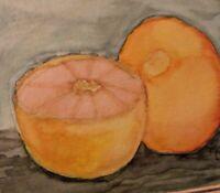 Vintage Grapefruit Still Life Watercolor Painting Framed Impressionism Signed