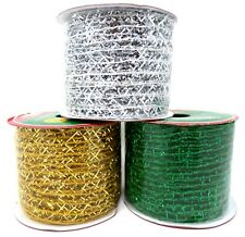 "New CHRISTMAS Mesh 2 1/2"" Ribbon Green Silver Gold ~ Set of 3"