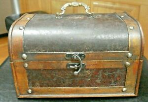 Ashland Collection Brown Wood & Brown Rustic Faux Leather Trunk w/ Brass Accents