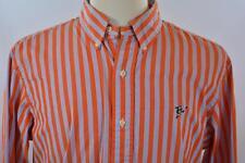Ralph Lauren Rugby LARGE Orange Blue Stripe Long Sleeve Dress Shirt Player Logo