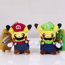 "Pokemon Pikachu Super Mario Luigi Doll Stuffed Plush Toy 4.5"" Set of 2 US new"