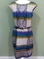 MAGGY LONDON Sz 12 Womens Geometric Pencil SHEATH OMBRE CAREER DRESS WOW