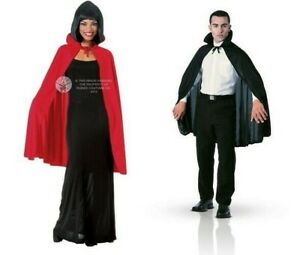 """Dracula Short 45"""" Cape With Collar Vampire Devil Black Red Halloween Accessory"""