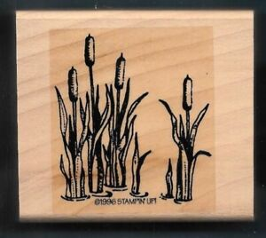 CATTAILS MARSH Country Landscape Creek Ditch Stampin' Up! 1996 wood RUBBER STAMP