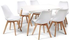 Toulouse Tulip Eiffel Style Dining Set 120x80cms White Table & 6 White Chairs