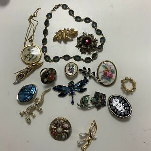 Vintage Costume Jewellery Brooches Necklaces Bundle Job Lot Mixed Styles X 17px