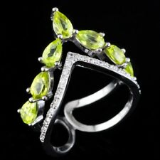 100% NATURAL 6X4MM PERIDOT APPLE GREEN GEM FREE SIZE SILVER 925 RING SIZE 5