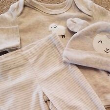 DARLING! NEW CARTER'S NEWBORN 3PC GRAY STRIPED LAMB FOOTED OUTFIT W/HAT