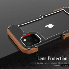 For iPhone 11 Pro 11 Pro Max Real Wood Aluminum Hard Metal Bumper Case Cover