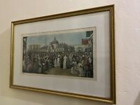 Parisian Square Large Signed French Print W/Gold Frame & Matted ELS Sahib