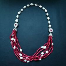 """M010302 31"""" 6Strands White Baroque Pearl Red Jade Necklace"""