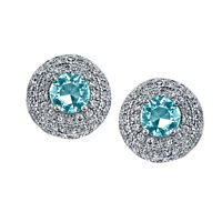 925 Sterling Silver Dome Stud Aquamarine  CZ Earrings Cubic Zirconias Formal