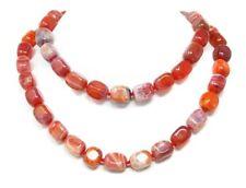 Außergewöhnlich Halskette aus Feuer-Achat in abgerundeter Prismenform 90cm lang