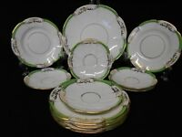 ANTIQUE COURT CHINA  SELECTION OF PLATES GREEN GOLD GILT Circ 1890-1910 12 Pc