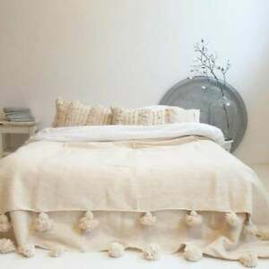 Moroccan blanket,pom pom blankets,moroccan throw blanket,wool moroccan bedding