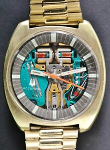 Running Vintage 1971 Bulova Accutron Spaceview N1 Backset 18k Gold Plated Watch