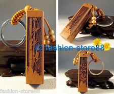 Classical carved wooden Plum, orchid, bamboo, chrysanthemum Key chain keyring