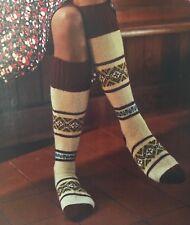 KNITTING PATTERN Ladies Long Knee High Socks Fair Isle Design Artesano PATTERN